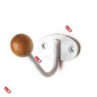 Крючок-вешалка с дерев шариком КВД-1 (Белый)
