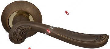 Ручка дверная раздельная Fuaro ART RM AB/GP-7 (Бронза/латунь)