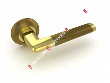 Ручка дверная раздельная Fuaro TEMPO RM AB/GP-7 (Бронза/латунь)