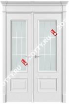 Дверь двустворчатая Грация 2 ДО (с багетом)(низкий низ)