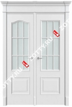Дверь двустворчатая Классика 2 ДО (с багетом) (половинка арка и прямоугольная)