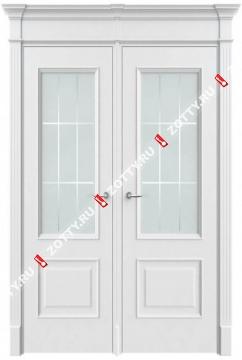 Дверь двустворчатая Классика 2 ДО (с багетом)(выс.низ)