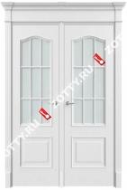 Дверь двустворчатая Грация 2 ДО (с багетом) (окна арки)