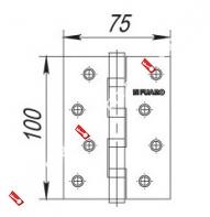 Петля универсальная FUARO 4BB 100x75x2.5 CF