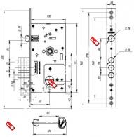 Замок врезной сувальдный с защелкой FUARO V25/S-60.85.3R16 4 ключа